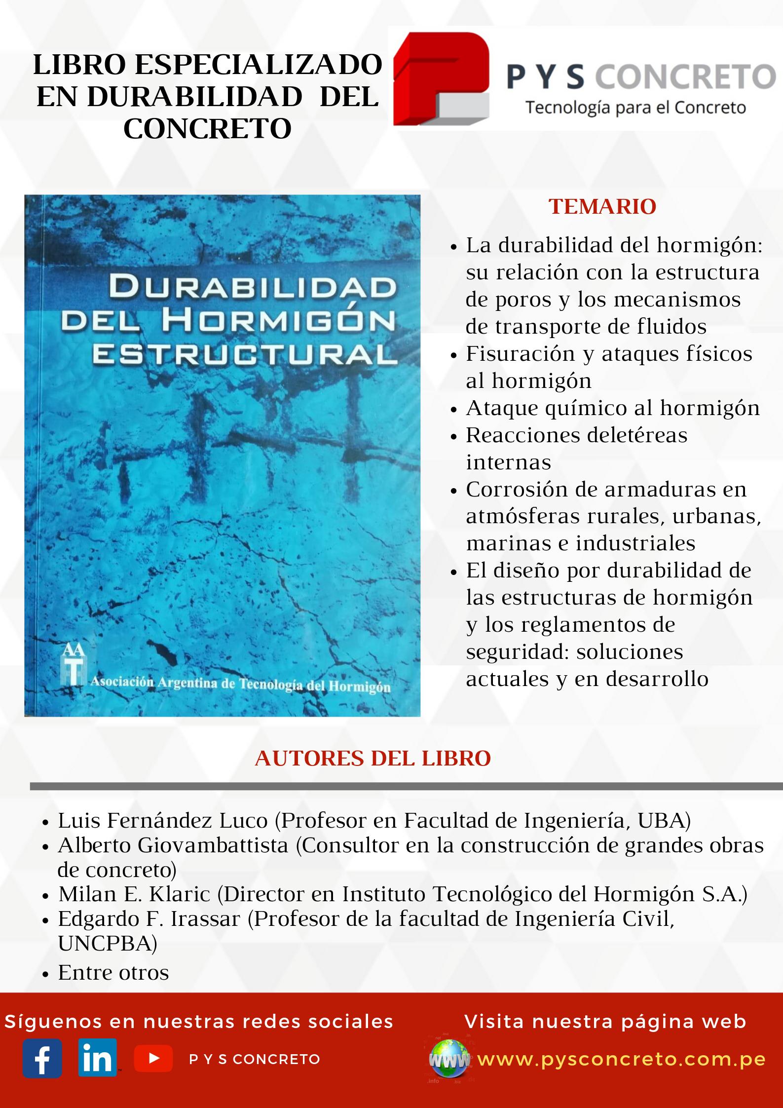 Libro especializado en durabilidad del concreto