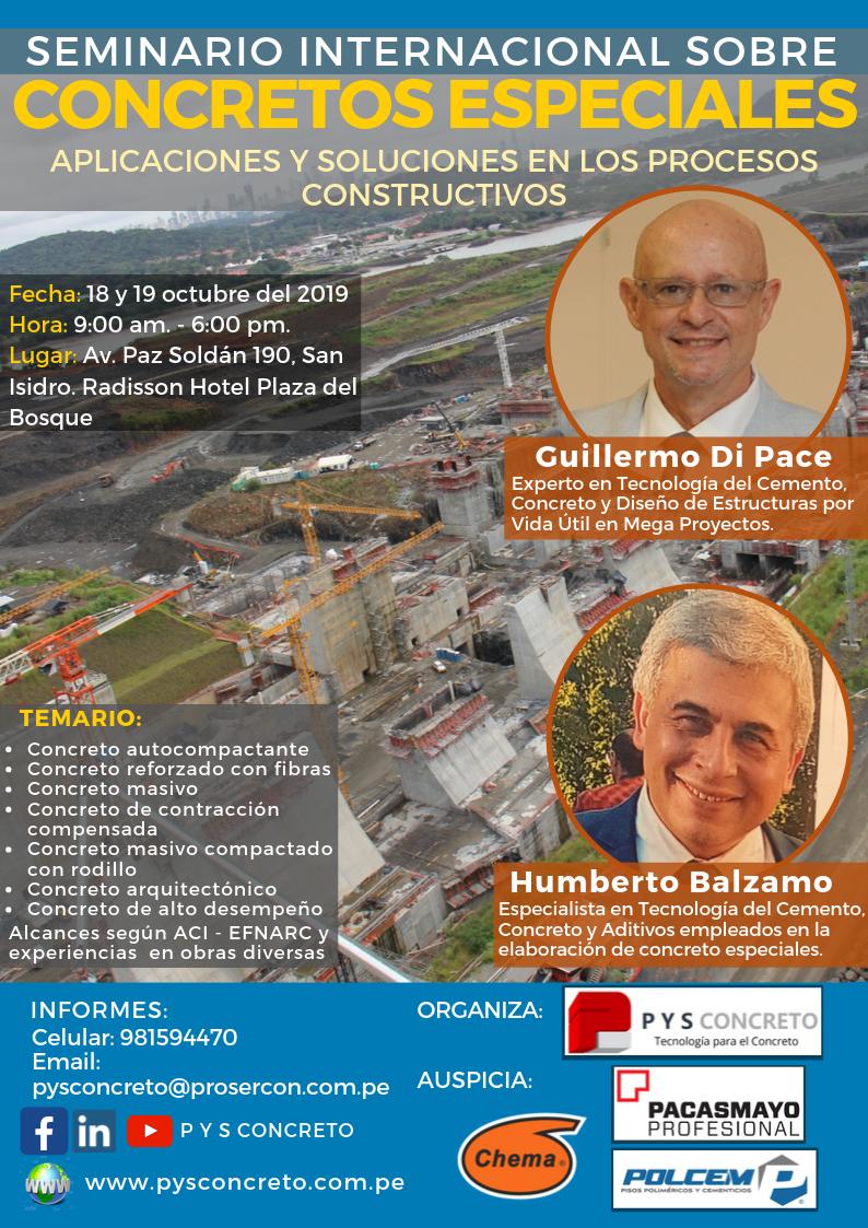 Flyer del Seminario internacional sobre concretos especiales